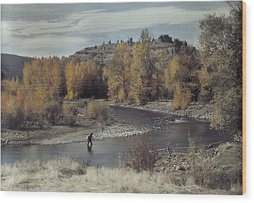 Man Fishes For Trout In The Naches Wood Print by Clifton R Adams