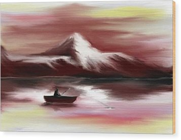 Wood Print featuring the digital art Man Fishing by Angela Stout