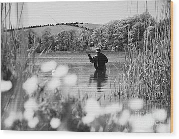 Man Flyfishing On Lake In Ireland Wood Print by Joe Fox