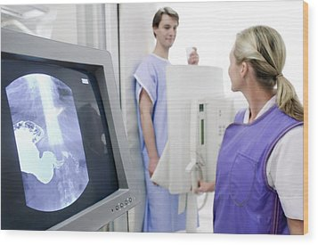 Man Having A Barium X-ray Wood Print by