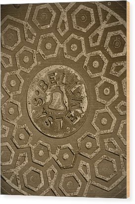 Man Hole Cover For Ma Bell Wood Print by Kym Backland