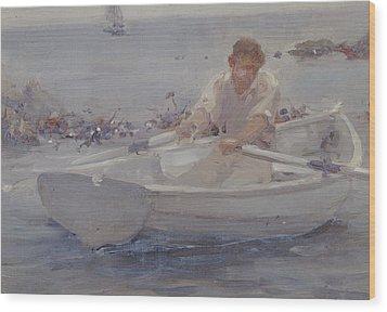 Man In A Rowing Boat Wood Print by Henry Scott Tuke