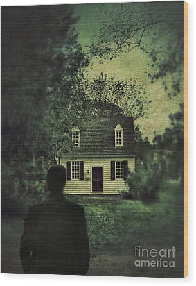 Man In Front Of Cottage Wood Print by Jill Battaglia