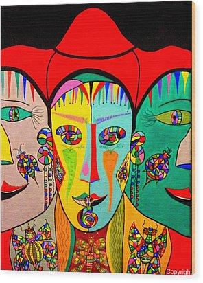 Man In Reverse II Wood Print by Marie Schwarzer