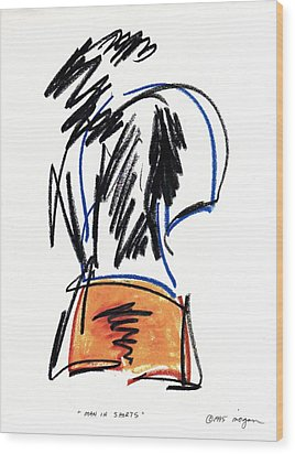 Wood Print featuring the drawing Man In Shorts  by Patrick Morgan