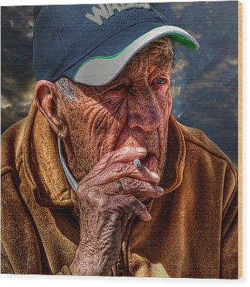 Man Smoking Wood Print