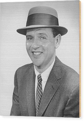 Man Wearing Hat, Posing In Studio, (b&w), Portrait Wood Print by George Marks