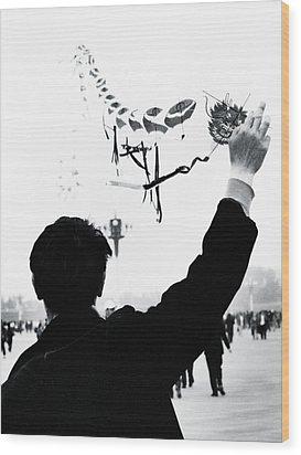 Man With A Kite Wood Print