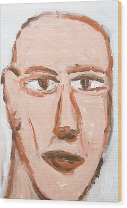Man With A Scar On His Face Wood Print by Kazuya Akimoto
