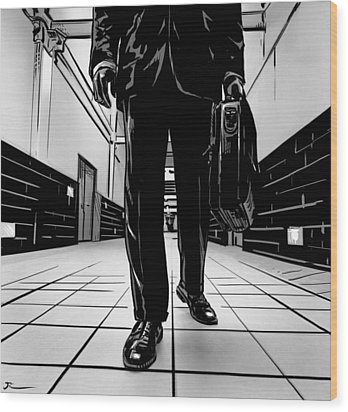 Man With Briefcase Wood Print by Giuseppe Cristiano