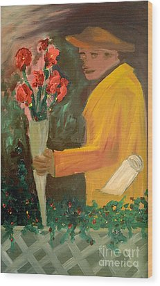 Man With Flowers  Wood Print by Bruce Stanfield