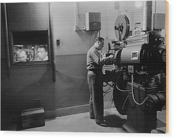 Man Working A Projector In A Movie Wood Print by Everett