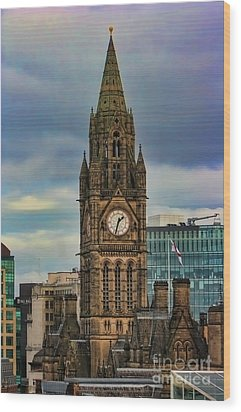 Manchester Town Hall Wood Print by Heather Applegate