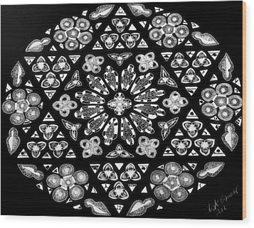 Wood Print featuring the drawing Mandala Of Hope Phase 1 by Lisa Brandel