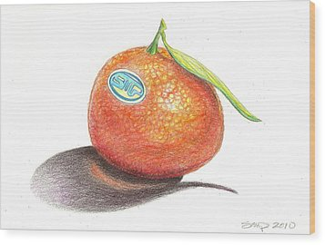 Mandarin Orange Wood Print by Sean Paradise
