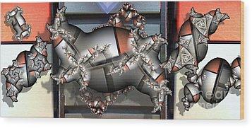 Mandelbrot Meets Mondrian Wood Print by Ron Bissett