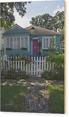 Mandevilla Cottage Wood Print by Cheri Randolph