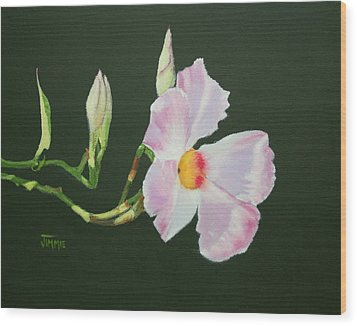 Wood Print featuring the painting Mandevilla Reaching Out by Jimmie Bartlett