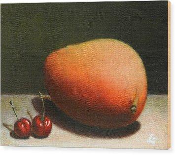 Mango And Cherries Wood Print