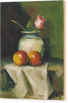 Mangoes And Rose Wood Print by Pepe Romero