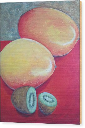 Mangos And Kiwi Wood Print by Anne Marie Smith