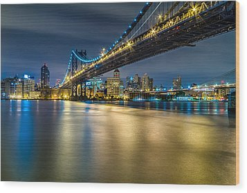 Manhattan Bridge And Downtown Brooklyn At Night. Wood Print by Val Black Russian Tourchin