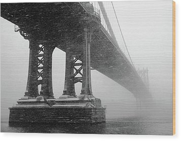 Manhattan Bridge Durning Winter Snow Storm Wood Print by Anthony Pitch