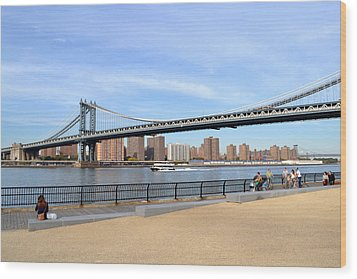 Manhattan Bridge1 Wood Print by Zawhaus Photography