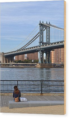 Manhattan Bridge2 Wood Print by Zawhaus Photography