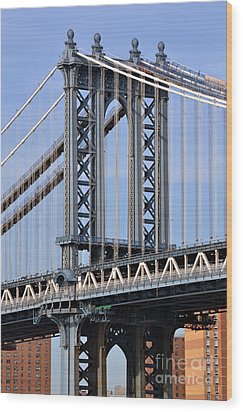 Wood Print featuring the photograph Manhattan Bridge3 by Zawhaus Photography