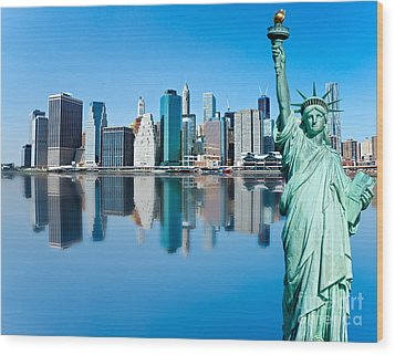 Wood Print featuring the photograph Manhattan Liberty by Luciano Mortula