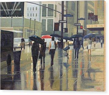 Manhattan Rain Wood Print