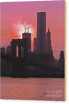 Manhattan Sunset Wood Print