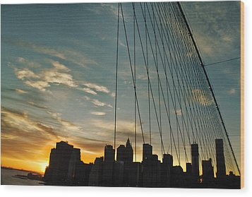 Manhattan Through The Bridge Wood Print by Alex AG