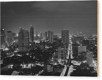 Manila Skyline Wood Print by Arj Munoz