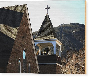 Wood Print featuring the photograph Manitou Springs Steeple by Clarice  Lakota