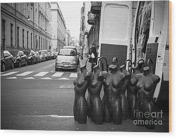 Mannequins Wood Print by Sonny Marcyan