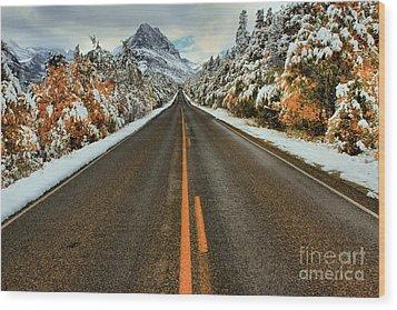 Many Glacier Road Wood Print by Adam Jewell