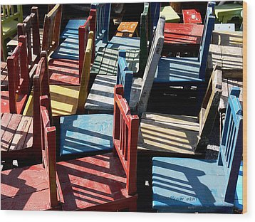 Wood Print featuring the photograph Many Seats For Learning by EricaMaxine  Price