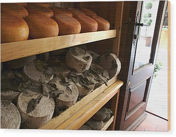 Many Varieties Of Pecorino Cheese Line Wood Print by Heather Perry