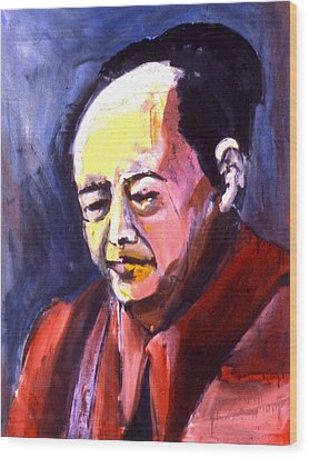 Wood Print featuring the painting Mao by Les Leffingwell