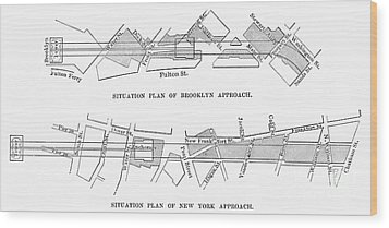 Map: Brooklyn Bridge Wood Print by Granger