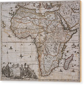 Map Of Africa, 1688 Wood Print by Photo Researchers