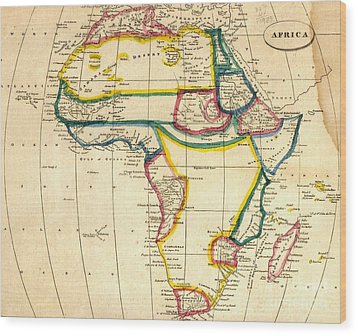 Map Of Africa 1812 Wood Print by Pg Reproductions