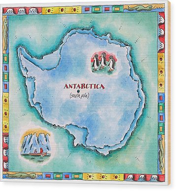 Map Of Antarctica Wood Print by Jennifer Thermes