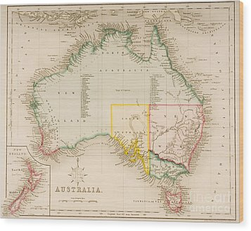 Map Of Australia And New Zealand Wood Print by J Archer