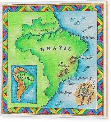 Map Of Brazil Wood Print by Jennifer Thermes