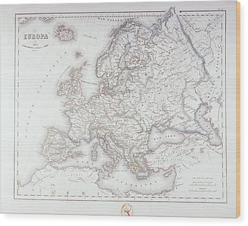 Map Of Europe Wood Print by Fototeca Storica Nazionale