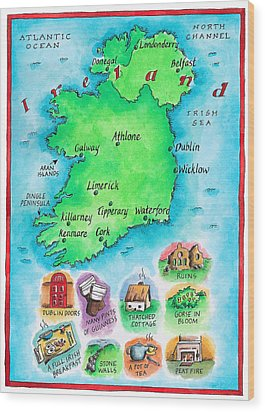 Map Of Ireland Wood Print by Jennifer Thermes