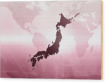 Map Of Japan Wood Print by Maciej Frolow